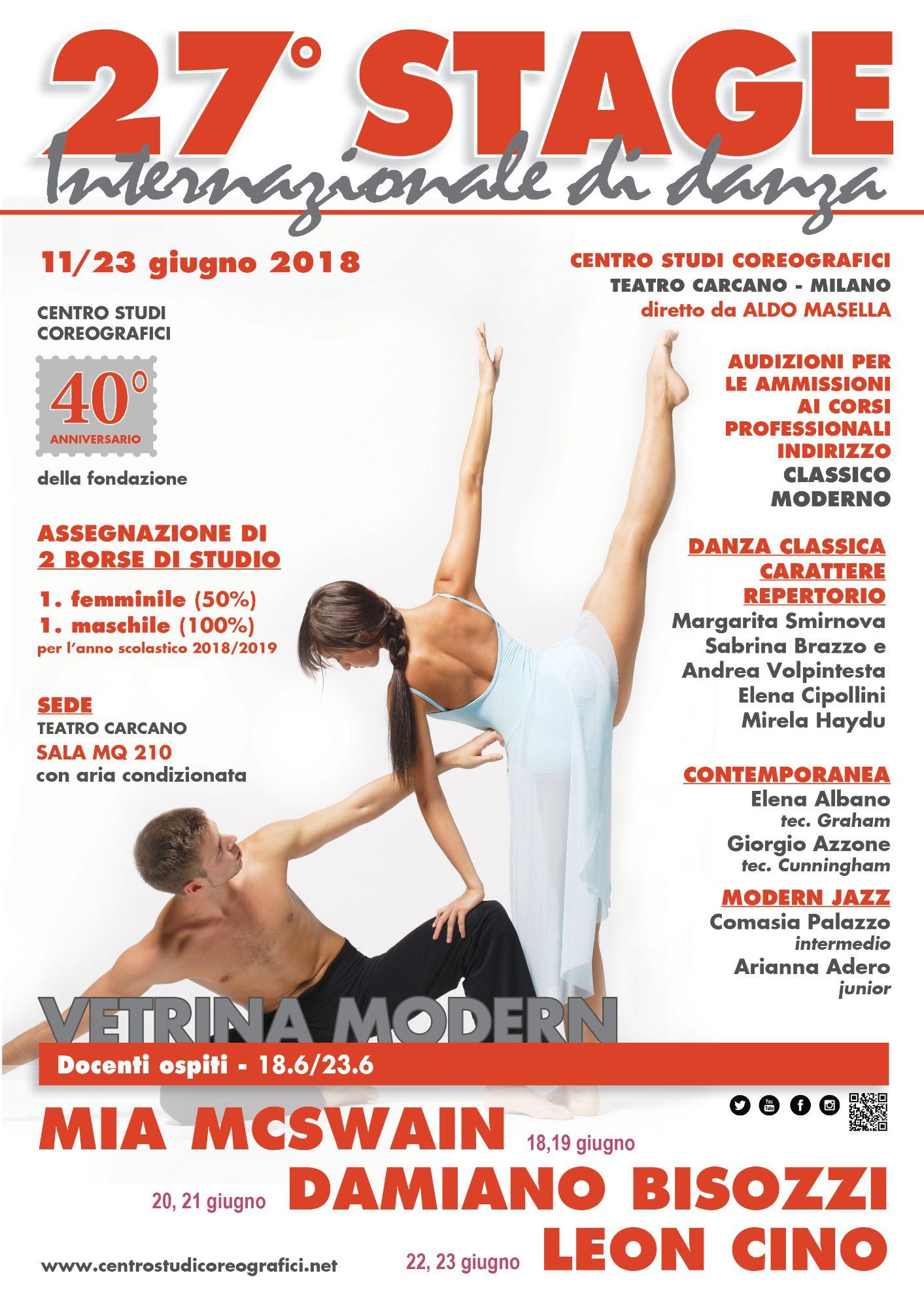 27 ° STAGE INTERNAZIONALE DI DANZA A MILANO DAL 11 AL 23 GIUGNO